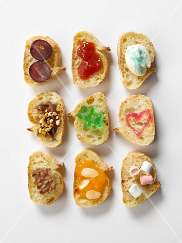 Assorted sweet slices of bread