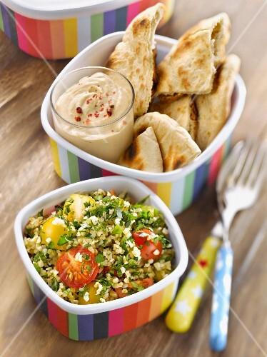 Tabbouleh, hummus and pitta bread