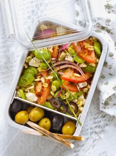 Feta,tomato,red onion,broad bean and lemon zest salad