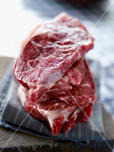 Raw Wagyu beef chops