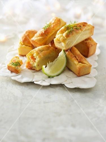 Salmon mini savoury cakes