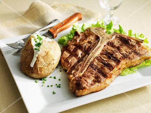 T-bone steak and a baked potato