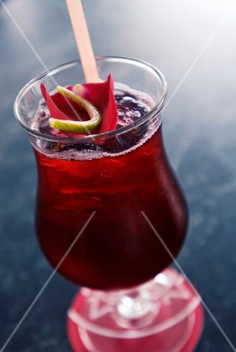 Hibiscus flower drink with rose petals