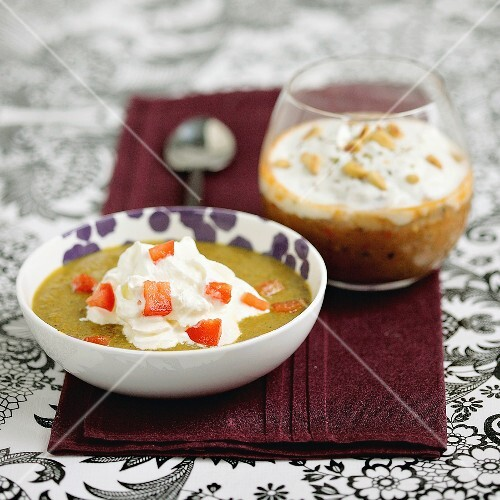 Mussel-curry Cappuccino and goat's cheese-ratatouille Cappuccino