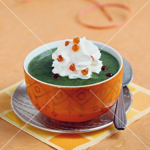 Parsley and salmon roe Cappuccino