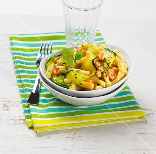 Pasta,zucchini and shrimp salad