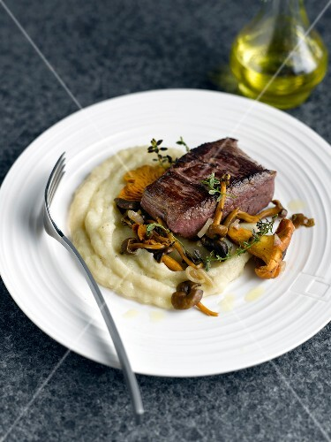 Thick ostrich fillet with mashed potatos and wild mushrooms