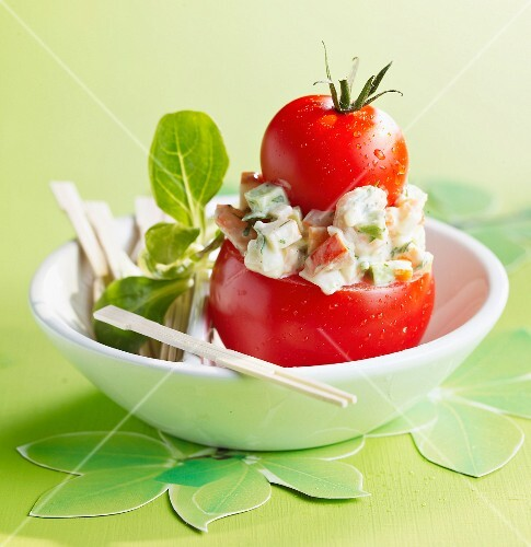 Religieuse-shaped tomatoes with Macédoine