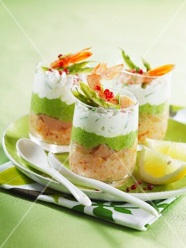 Asparagus mousse,salmon mousse and chive cream verrines