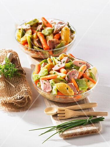 Potato,pork and carrot salad
