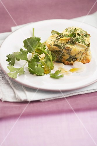 Small heart-shaped herb,garlic and almond Flan