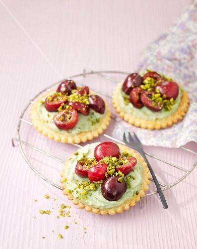 Pistachio cream and cherry tarlets