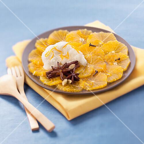 Spicy orange carpaccio with orange blosssom espuma