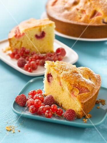 Summer fruit yoghurt cake