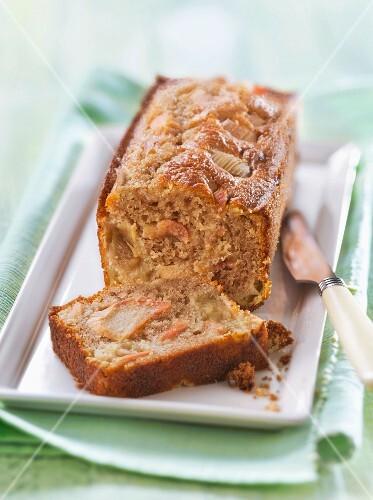 Chestnut flour and rhubarb cake