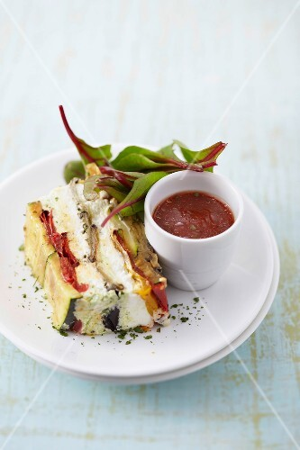 Grilled vegetables and halloumi terrine