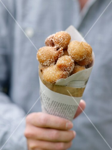 Cone of organic fritters from the Green City Market