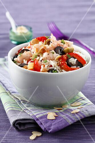 Rice salad with Dublin Bay prawn