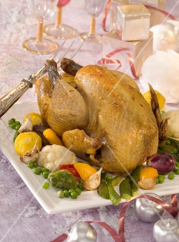 Roast guinea-fowl with mini vegetables