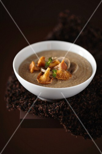 Chanterelle and buckwheat soup