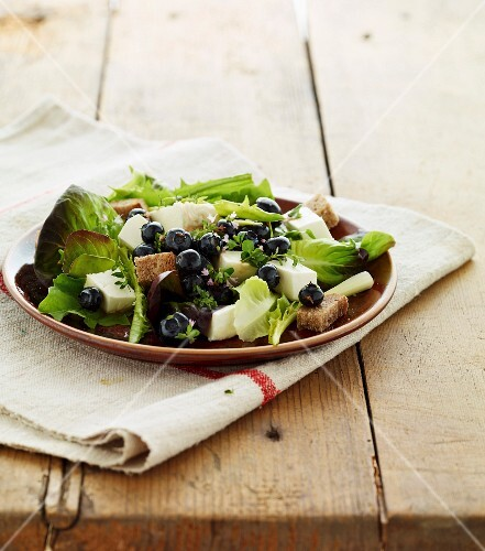 Lettuce,fresh Tomme cheese,blueberry,croutons and basil salad