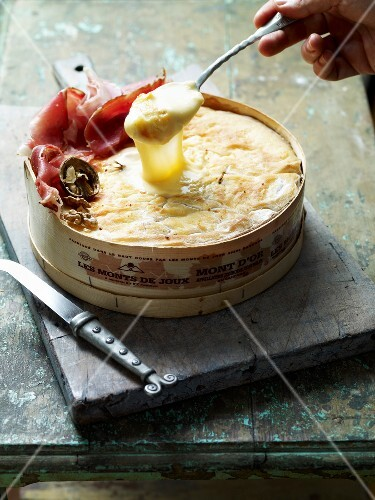 Hot Mont d'Or cheese with cold cuts