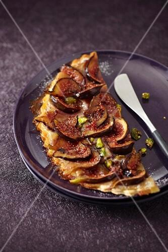 Fig and pistachio tart
