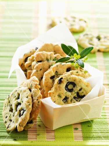 Parmesan and olive savoury cookies