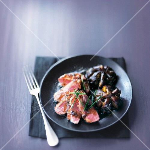 Duck magret with mussels