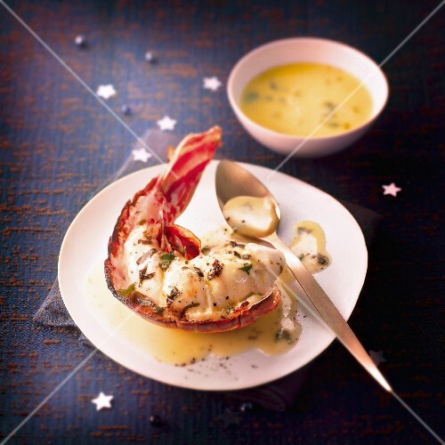 Spiny lobster with tarragon butter sauce