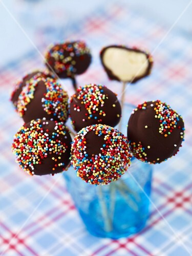 Fromage frais and chocolate lollipops