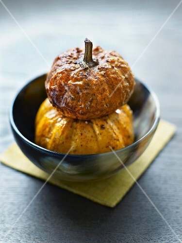 Mini pumpkins baked in the oven with soya sauce