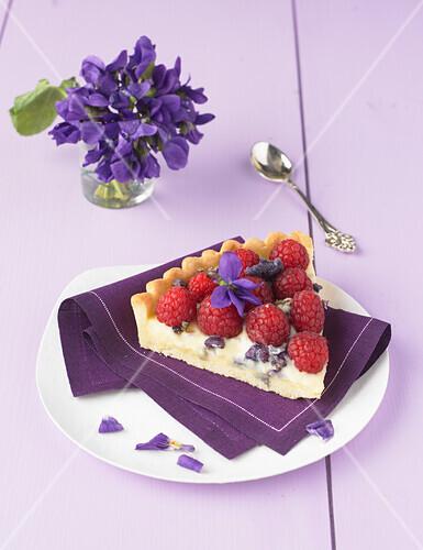 Raspberry and crystallized violet tart