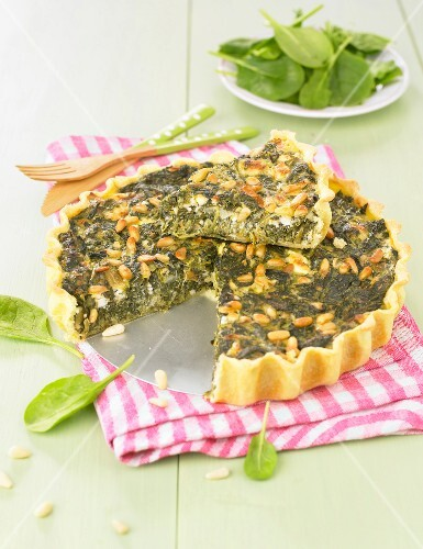 Spinach and pine nut tart