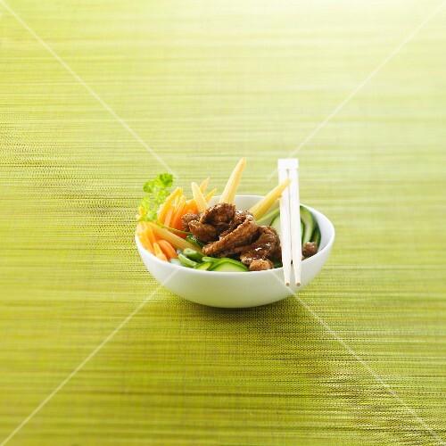 Pork with spring vegetables