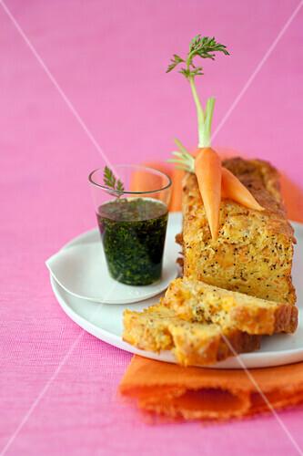 Carrot,ricotta and poppyseed savoury cake, chervil vinaigrette
