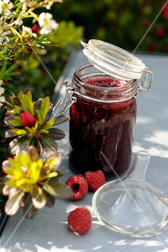 Raspberry and grapefruit oil jam