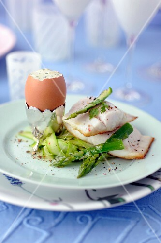 Sea bass, soft-boiled egg with herbs and green asparagus
