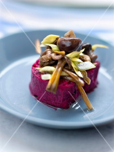 Beetroot mousse with mushrooms