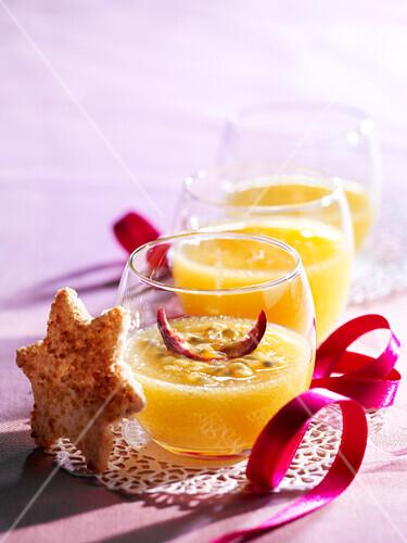 Passion fruit cream dessert with coconut shortbread cookies