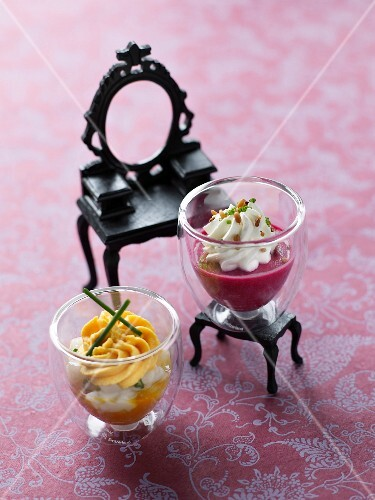 Pumpkin verrine and beetroot verrine