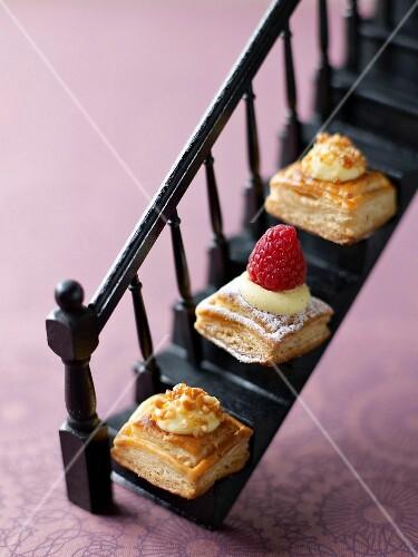 Cream and raspberry delicacies