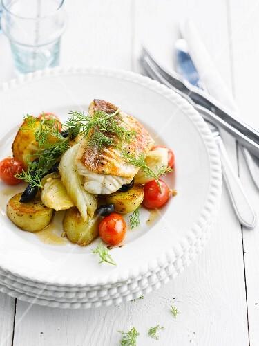 Meditarrenean fish fillet with new potatoes