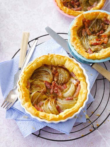 Onion and diced bacon tartlets