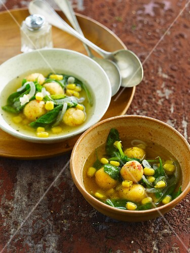 Spinach broth with sweetcorn and polenta balls