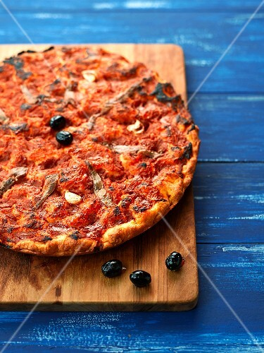 Red focaccia with anchovies