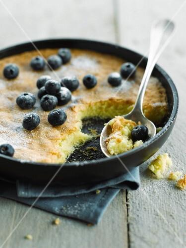 Lemon cake with bilberries