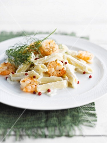 Penne with mascarpone and scampis