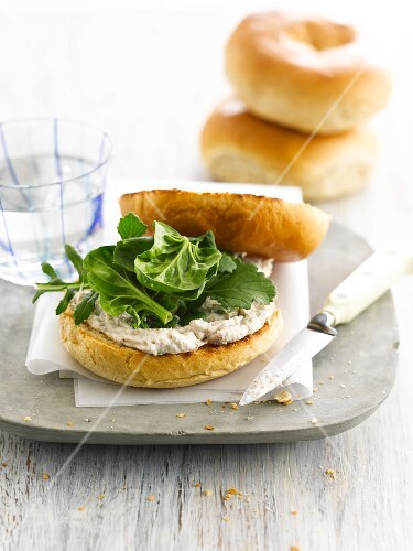 Mackerel mousse and spinach bagel