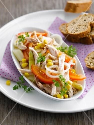Sweetcorn, tomato, aparagus and chicken salad